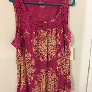 Sonoma sleeveless top pink crochet neck xl Nwt